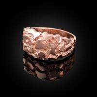 Polished Rose Gold Mens Nugget Ring