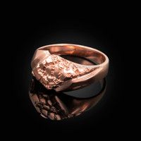 Mens Rose Gold Diamond-shape Nugget Ring