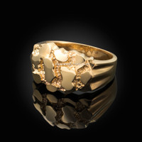 Mens Yellow Gold Nugget Ring