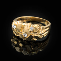 Yellow Gold Elegant CZ Nugget Ring