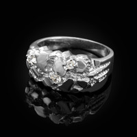 White Gold Elegant CZ Nugget Ring