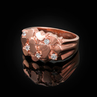Mens Rose Gold CZ Nugget Ring