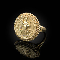 Yellow Gold Saint Benedict Medal Womens Ring