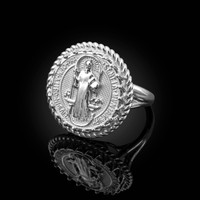 White Gold Saint Benedict Medal Womens Ring