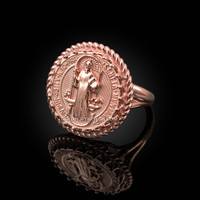 Rose Gold Saint Benedict Medal Womens Ring