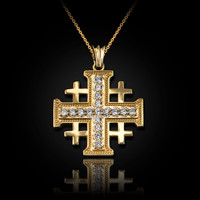 Yellow Gold Diamond Jerusalem Cross Pendant Necklace