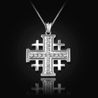 White Gold Diamond Jerusalem Cross Pendant Necklace