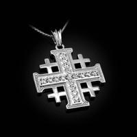 White Gold CZ Jerusalem Cross Pendant Necklace