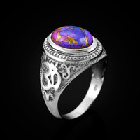 White Gold Om (aum) Oval Purple Copper Turquoise Ring
