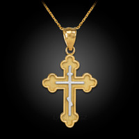Two-Tone Gold Russian Eastern Orthodox Cross Charm Pendant Necklace