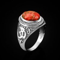 White Gold Om (aum) Oval Orange Copper Turquoise Ring