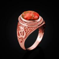 Rose Gold Om (aum) Oval Orange Copper Turquoise Ring
