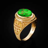 Yellow Gold Jerusalem Cross Green Copper Turquoise Statement Ring