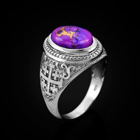 White Gold Jerusalem Cross Purple Copper Turquoise Statement Ring