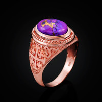 Rose Gold Jerusalem Cross Purple Copper Turquoise Statement Ring