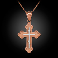 Two-Tone Rose Gold Eastern Russian Orthodox Cross Charm Necklace