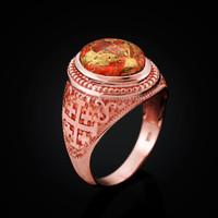 Rose Gold Jerusalem Cross Orange Copper Turquoise Statement Ring