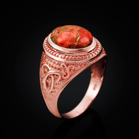 Rose Gold Celtic Knot Orange Copper Turquoise Ring