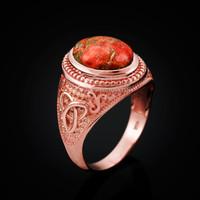 Rose Gold Celtic Knot Orange Copper Turquoise Ring