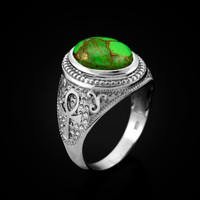 White Gold Egyptian Ankh Cross Green Copper Turquoise Ring