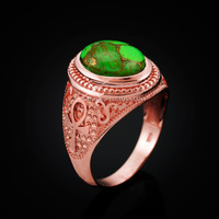 Rose Gold Egyptian Ankh Cross Green Copper Turquoise Ring