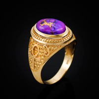 Yellow Gold Egyptian Ankh Cross Purple Copper Turquoise Ring