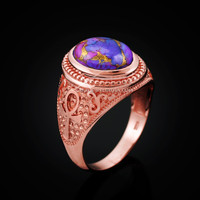 Rose Gold Egyptian Ankh Cross Purple Copper Turquoise Ring