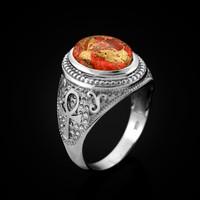 White Gold Egyptian Ankh Cross Orange Copper Turquoise Ring