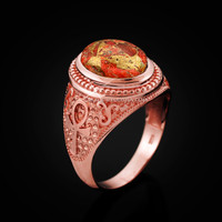 Rose Gold Egyptian Ankh Cross Orange Copper Turquoise Ring