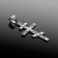 White Gold Russian Orthodox Cross Pendant