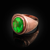 Rose Gold Green Copper Turquoise Statement Ring