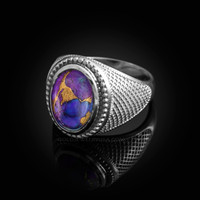 White Gold Purple Copper Turquoise Statement Ring
