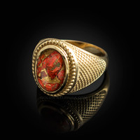 Yellow Gold Orange Copper Turquoise Statement Ring