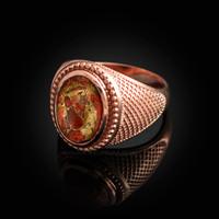 Rose Gold Orange Copper Turquoise Statement Ring