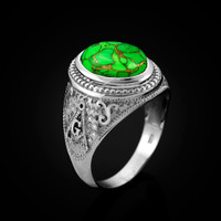 White Gold Masonic Green Copper Turquoise Statement Ring