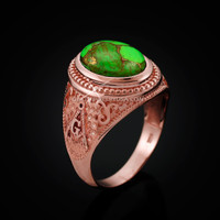 Rose Gold Masonic Green Copper Turquoise Statement Ring