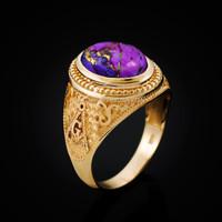 Yellow Gold Masonic Purple Copper Turquoise Statement Ring