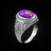 White Gold Masonic Purple Copper Turquoise Statement Ring