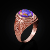 Rose Gold Masonic Purple Copper Turquoise Statement Ring