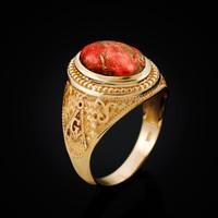 Yellow Gold Masonic Orange Copper Turquoise Statement Ring