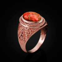 Rose Gold Masonic Orange Copper Turquoise Statement Ring