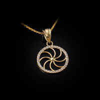 Yellow Gold Armenian Eternity Diamond Bezel Charm Necklace