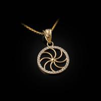 Yellow Gold Armenian Eternity Diamond Bezel Charm Necklace