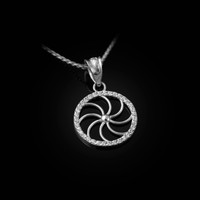 White Gold Armenian Eternity Diamond Bezel Charm Necklace