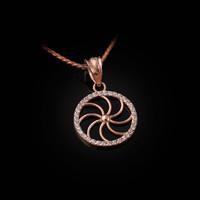 Rose Gold Armenian Eternity Diamond Bezel Charm Necklace