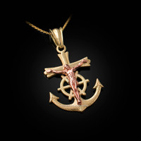 Two-Tone Yellow and Rose Gold Mariner Crucifix Cross Pendant Necklace