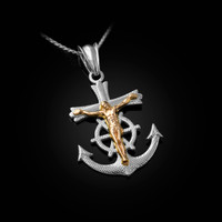 Two-Tone White and Yellow Gold Mariner Crucifix Cross Pendant Necklace