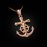 Two-Tone Rose and Yellow Gold Mariner Crucifix Cross Pendant Necklace