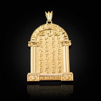 Gold Armenian Alphabet Plaque Pendant