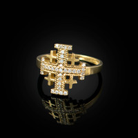 Yellow Gold Jerusalem Cross Clear CZ Ring